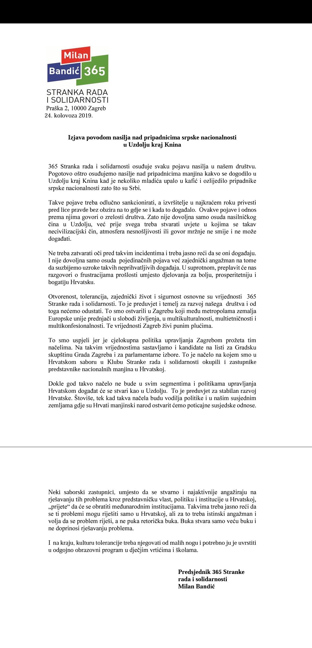 """""""Izjava povodom nasilja nad pripadnicima srpske nacionalnosti u Uzdolju kraj Knina""""."""